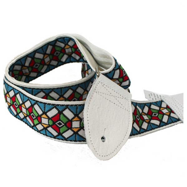 Souldier Guitar Strap Stained Glass, White/Blue
