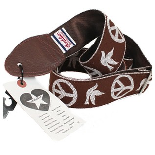 Souldier Guitar Strap Peace and Dove, White/Brown