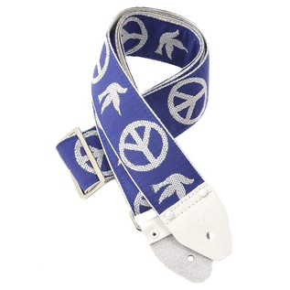 Souldier Guitar Strap Peace and Dove, Blue/White