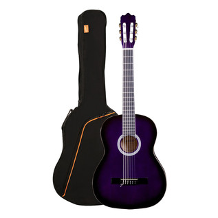 Ashton SPCG44 Full Size Classical Guitar Pack, Transparent Purple