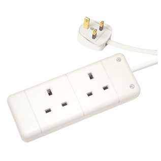 Eagle 2 Gang UK 13A 5m Extension Lead, White
