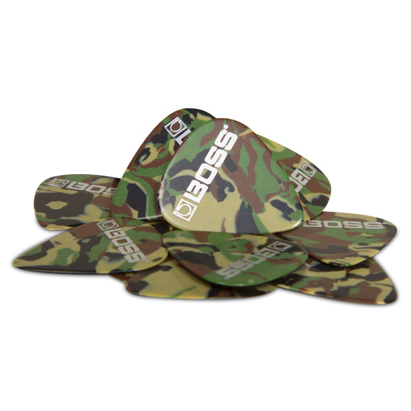 BOSS Celluloid Pick Thin 12 Pack, Camo - Pack
