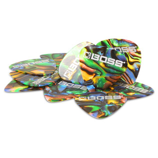 BOSS Celluloid Pick Medium 72 Pack, Abalone - Stacked