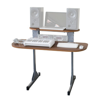Sefour X15 Studio Pro Desk, Tobacco Walnut - Angled Front (Contents Not Included)