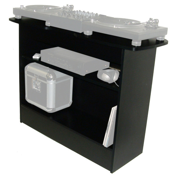 Sefour X10 DJ Stand, Black - Angled Front (Contents Not Included)