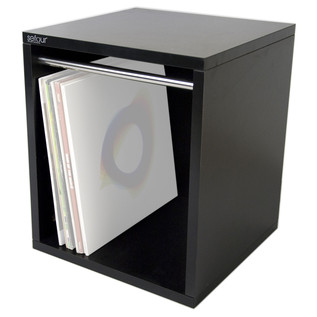 Sefour Carry Box for 115 Records, Black - Front Angled (Records Not Included)