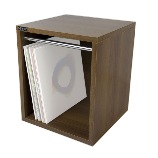 Sefour Carry Box for 115 Records, Tobacco Walnut - Front (Records Not Included)