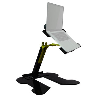 Sefour Universal Swivel Laptop - CDJ Stand (44cm Width), Black/Yellow - Angled (Laptop Not Included)