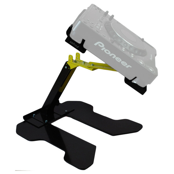 Sefour Universal Swivel Laptop - CDJ Stand (44cm Width), Black/Yellow - Angled View 2 (CDJ Not Included)