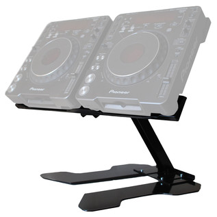 Sefour Universal Swivel Double CDJ Stand (65cm Width), Black - Angled (CDJ Not Included)