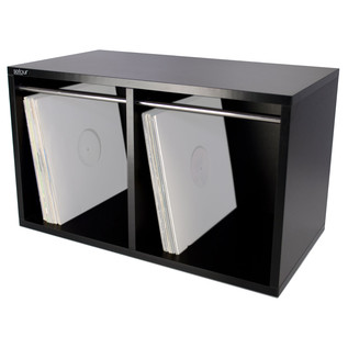 Sefour Vinyl Carry Box to Hold 240 Records, Black - Angled