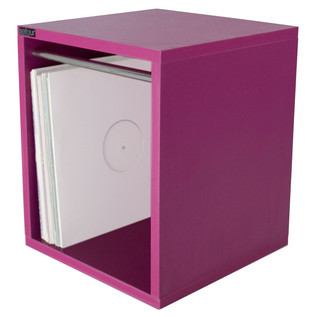 Sefour Vinyl Carry Box to Hold 115 Records, Electro Magenta - Angled