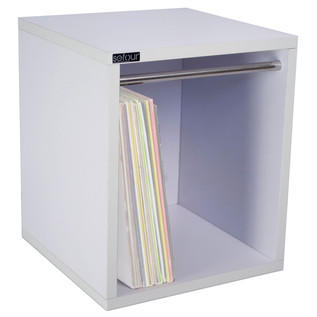 Sefour Vinyl Carry Box to Hold 115 Records, White Label White - Front