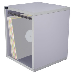 Sefour Vinyl Carry Box to Hold 115 Records, White Label White - Angled View