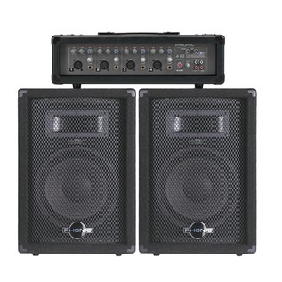 200W Phonic PA System with FX Mixer and Speakers