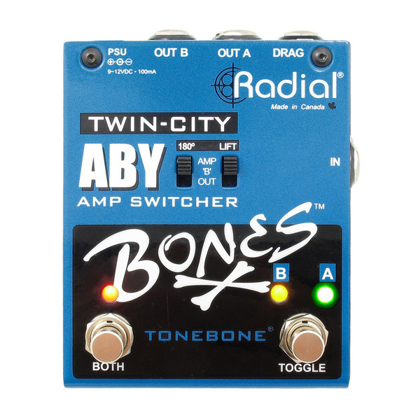 Radial Bones Twin-City ABY Amp Switcher - Front View
