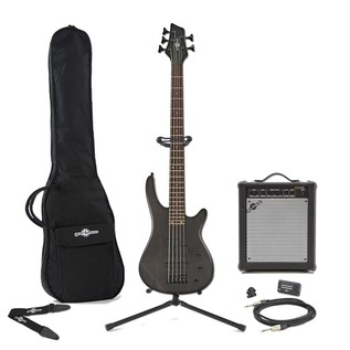 Lexington 5 String Electric Bass Guitar + Amp Pack, Black