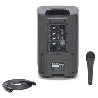 Samson XP106 Portable PA System - Rear With Mic