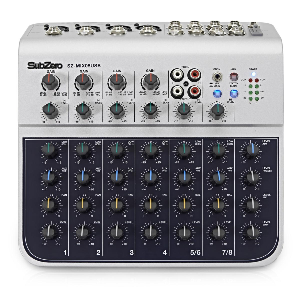 SubZero SZ-MIX08USB 8-Channel USB Mixer/Interface
