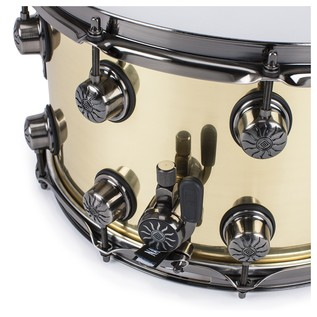 Natal 100% Brass 14x8 Snare Drum w/ Brushed Nickel HW angle