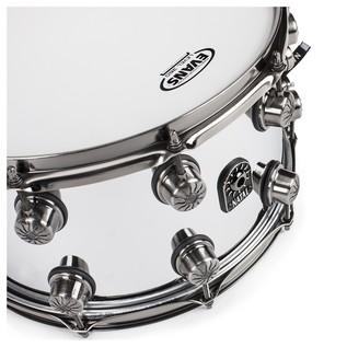 Natal Steel 14x8 Snare Drum w/ Brushed Nickel HW angle