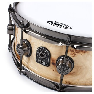 Natal Mappa Burl 14x5.5 Snare Drum, Brushed Nickel HW, Natural Gloss