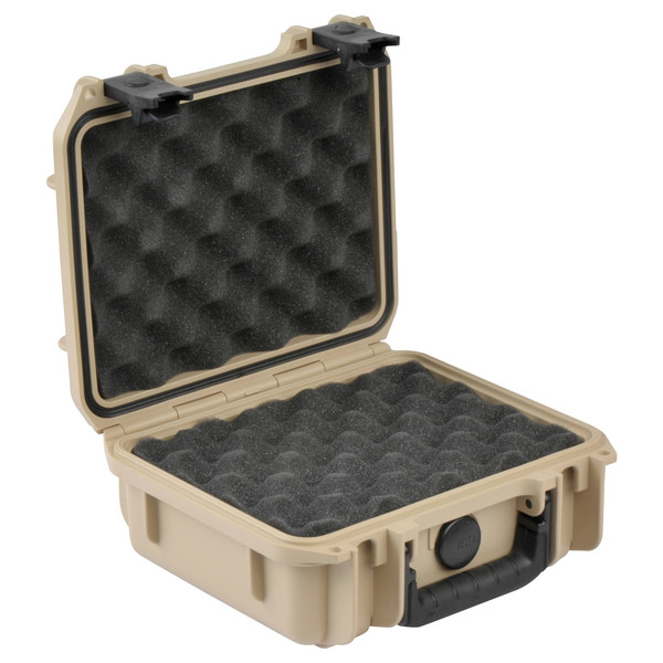 SKB iSeries 0907-4 Waterproof Case (With Layered Foam), Tan - Angled Open 2