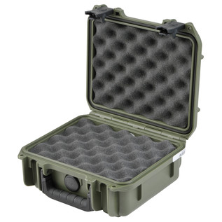 SKB iSeries 0907-4 Waterproof Case (With Layered Foam), Olive Drap - Angled Open