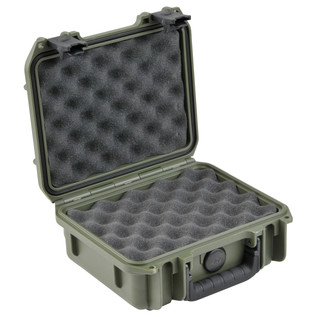 SKB iSeries 0907-4 Waterproof Case (With Layered Foam), Olive Drap - Angled Open 2
