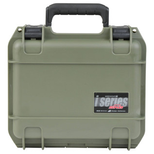 SKB iSeries 0907-4 Waterproof Case (With Layered Foam), Olive Drap - Front Closed