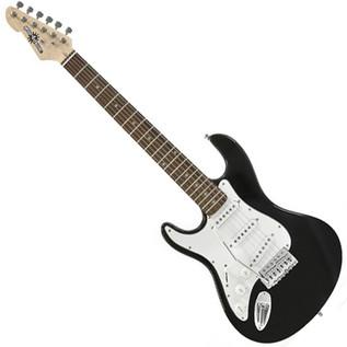 3/4 LA Left Handed Electric Guitar by Gear4music, Black