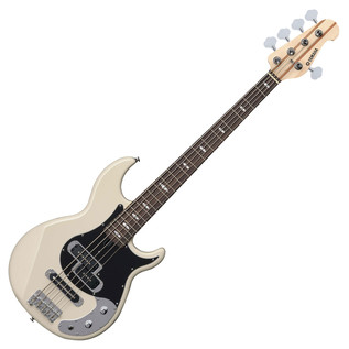 Yamaha BB425X 5-String Bass Guitar, Vintage White - Front Angled