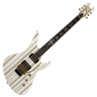 Schecter Synyster Standard Electric Guitar, White with Gold Stripes