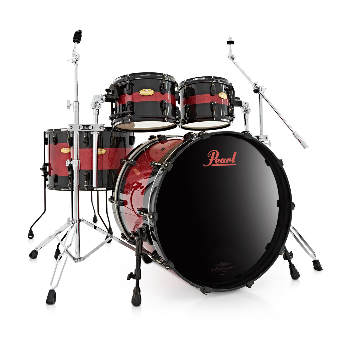 "Pearl Masterworks 22"" 5pc Shell Pack Black with Red Sparkle Inlay"