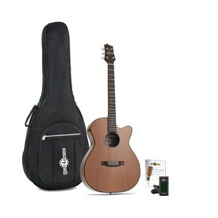 Ozark OM Cutaway Acoustic Folk Guitar, Natural
