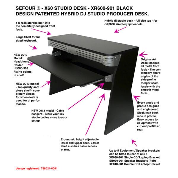 Sefour X60 Studio DJ Desk, Black