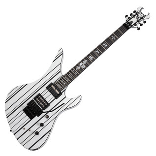 Schecter SynysterCustom-S Electric Guitar, White with Black Stripes