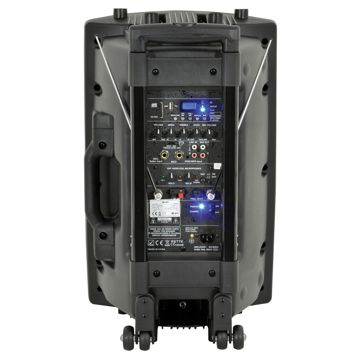 Qtx Sound Qr12pa Portable Pa System With Wireless Mics Box Opened Fuse