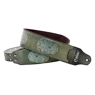 Right On Straps LEATHERCRAFT Sugar Guitar Strap, Green
