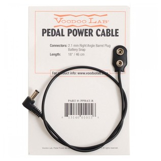 Voodoo Lab Right Angle Barrel To Battery Snap Cable 18 Inch