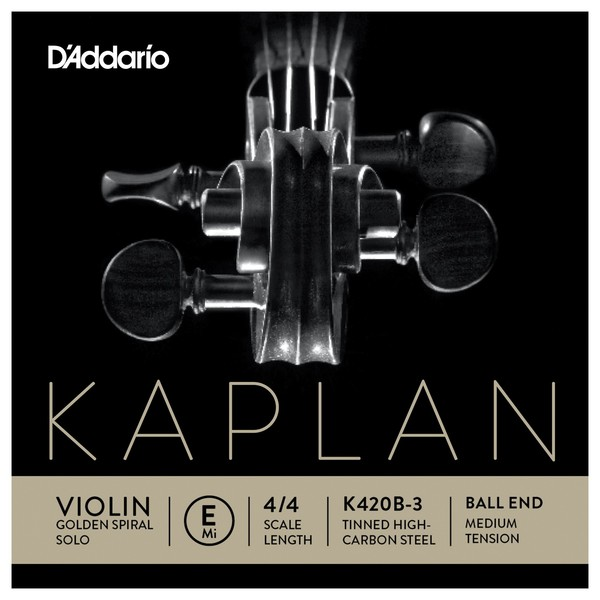 Daddario Kaplan Golden Spiral Solo Violin E String, Ball End, Medium