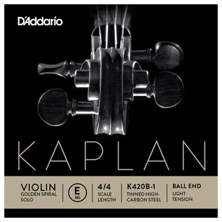 Daddario Kaplan Golden Spiral Solo Violin E String, Ball End, Light