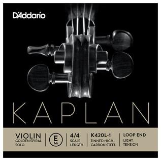 Daddario Kaplan Golden Spiral Solo Violin E String, Loop End, Light
