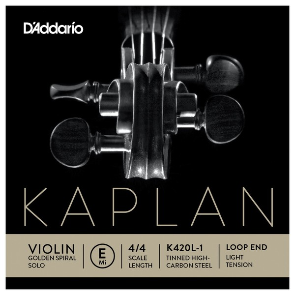 Daddario Kaplan Golden Spiral Solo Violin E String, Loop End, Light