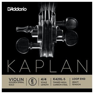 Daddario Kaplan Golden Spiral Solo Violin E String, Loop End, Heavy
