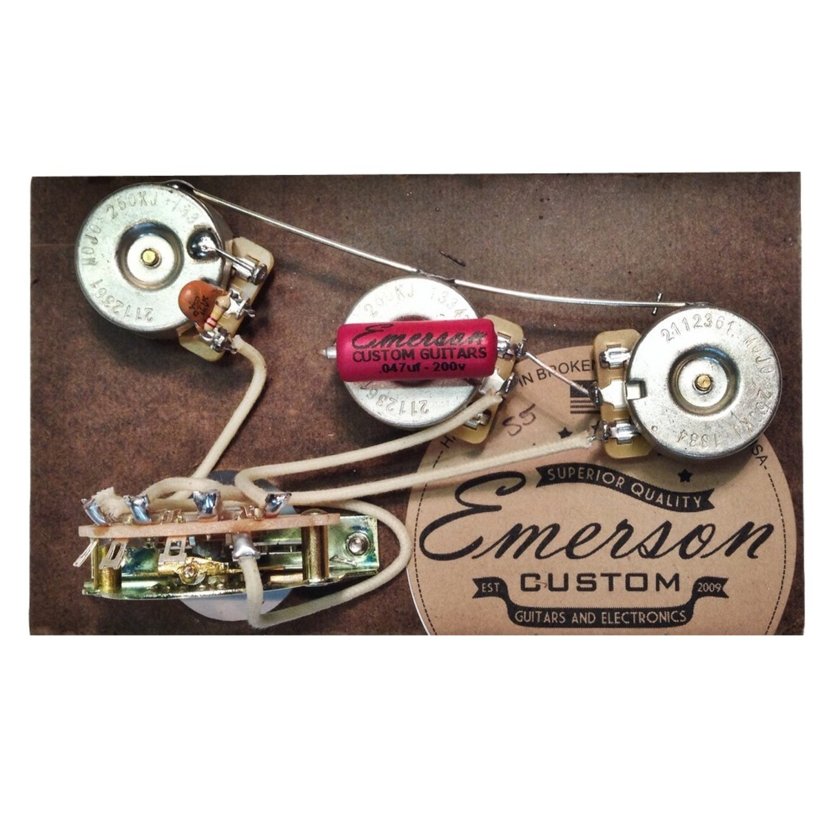 emerson custom 5 way strat prewired kit 500k at gear4music rh gear4music com