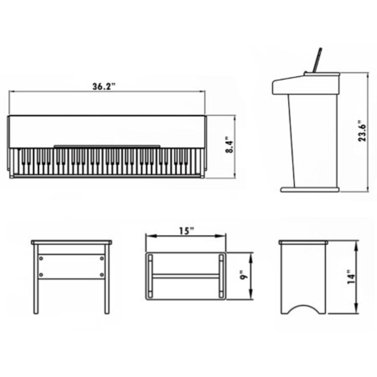 Jdp 1 junior piano digital de gear4music blanco b stock for Small piano dimensions