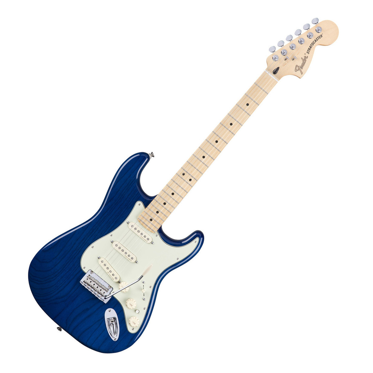 fender deluxe stratocaster electric guitar mn sapphire blue trans at