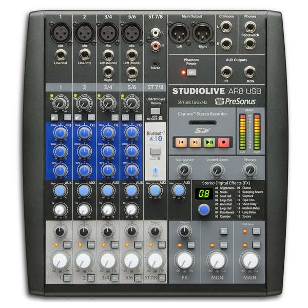 PreSonus StudioLive AR8 USB Mixer - Top View