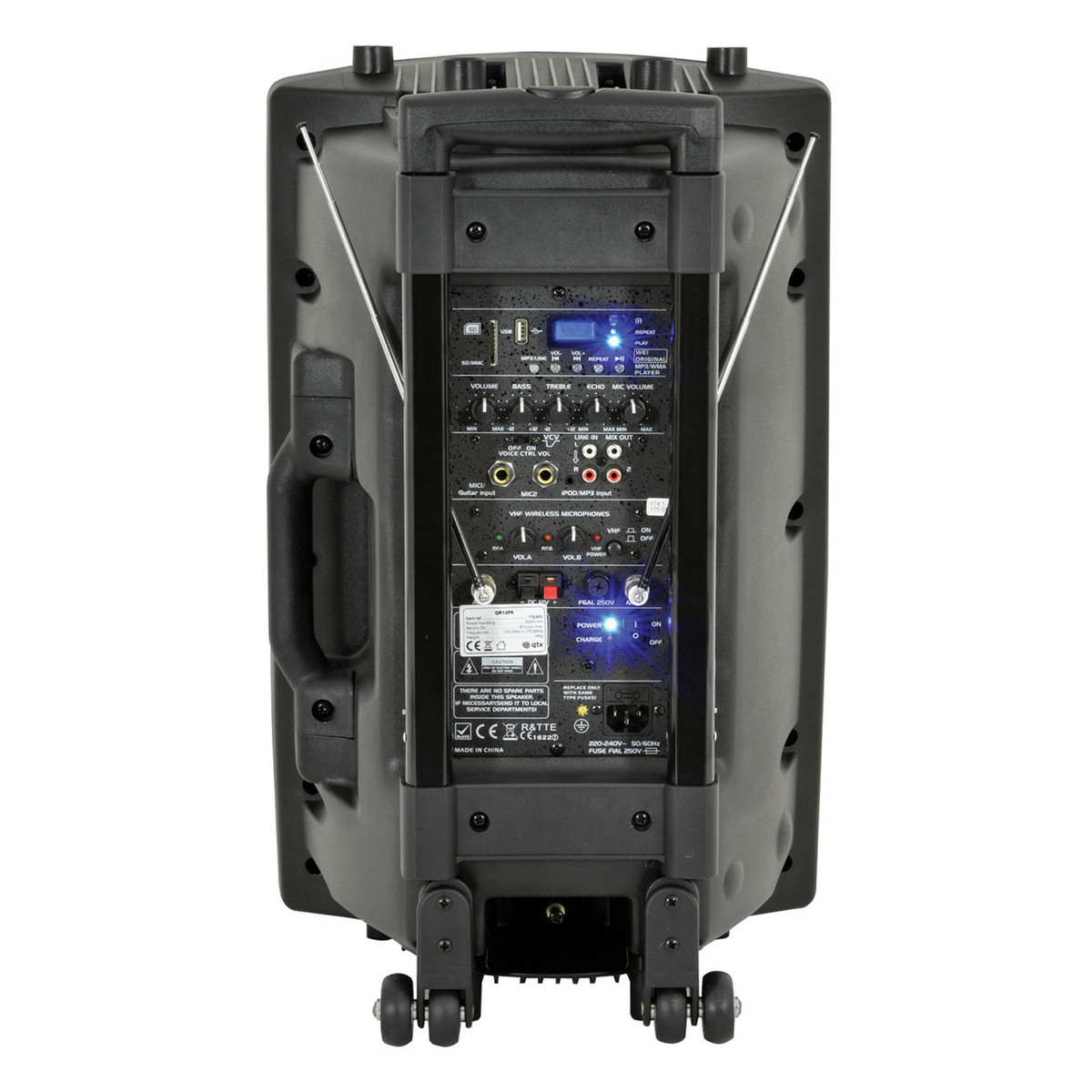 Qtx Qr15pa Portable Pa System With Wireless Mics Box Opened At Fuse Loading Zoom